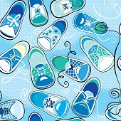Seamless Pattern - Children Gumshoes On Blue Background - Design For Boys