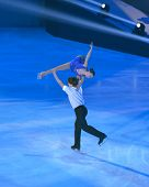 MOSCOW, RUSSIA - FEBRUARY 24, 2014: Lina Fedorova and Maxim Miroshkin in action during Gala concert of Olympic champions in figure skating in Luzhniki