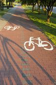 stock photo of bike path  - Bike path with a symbol of bike, shadow of bike on a cycling path. Space for text.