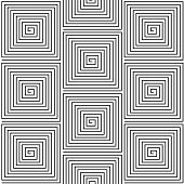 Black and White Hypnotic Background Seamless Pattern.