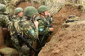 KOSTROMA REGION, RUSSIA - AUG 26, 2010: Unidentified soldiers during Command post exercises with 98-