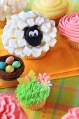 Easter cupcakes and Easter eggs display.