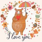 Concept romantic card with cute bear and the rain made of hearts in flowers. Bright invitation card