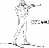vector - Biathlon athlete shooting and target