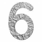 Font Aluminum Foil Texture Numeric 6