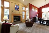 Modern Large Open Living Room With Red Wall.