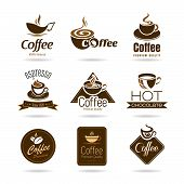 Set of coffee badges and icon
