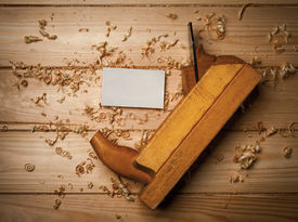stock photo of woodcarving  - joiner tools on wood table background close up - JPG