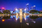 Fuzhou, China cityscape at Wuyi Square and Fuzhou Grand Theater.
