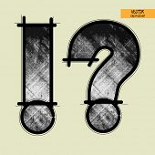 art simple classical alphabet in vector, grungy black and white handmade font, question and exclamat