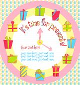 Vector colorful birthday card with gift boxes in circle on background