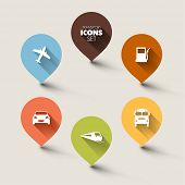 Set of round retro flat transport pointers - car, bus, train, plane, gas station with a long shadow