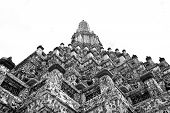 Black And White Uprisen Angle Of Phra Prang