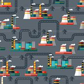 Seamless pattern of industrial power plants in flat style.