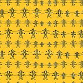 Seamless pattern of industrial power lines in flat style.