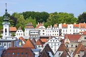stock photo of gable-roof  - Baroque roofs and houses from the old part of the small city Steyr in Upper Austria. The city has a long history as a manufacturing center ** Note: Soft Focus at 100%, best at smaller sizes - JPG