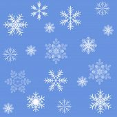Blue snowflakes seamless background pattern