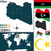 foto of libya  - Vector of Libya set with detailed country shape with region borders flags and icons - JPG
