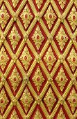 Traditional Thai Style Pattern Decoration On The Wall At Thai Temple, General In Thai No Potential T