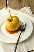 Caramelized Apple On The Wooden Stick