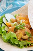 Wrap with Chicken in sweet and sour sauce