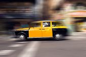 Yellow And Black Taxi - Barcelona Spain