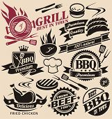 stock photo of grilled sausage  - Collection of vector grill signs - JPG
