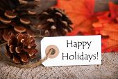 Autumn Label With Happy Holidays