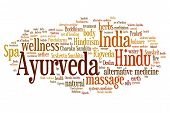 pic of ayurveda  - Ayurveda Indian alternative medicine issues and concepts word cloud illustration - JPG