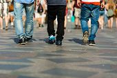 picture of lower body  - Lower bodies of three unidentifiable guys in the city centre - JPG