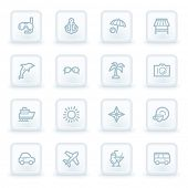 Vacation web icon set 1,  white square buttons