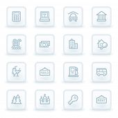 Travel web icon set 4, white square buttons