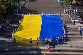 ODESSA, UKRAINE - August 23: Flash mob in city of Odessa on Potemkin Stairs on August 23, 2014, in d