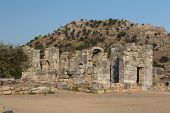 stock photo of dalyan  - Kaunos ancient city in Dalyan Town - JPG