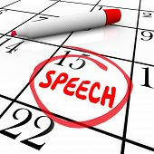 Speech date or day circled on a calendar to illustrate a reminder of an important speaking engagemen