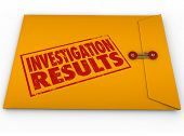 image of pry  - Investigation Results words stamped on a yellow envelope containing the report from research and findings of facts - JPG