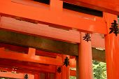 Otorii partial close-up of otorii in Fushimi Inari Taisha Shrine in Kyoto, Japan.