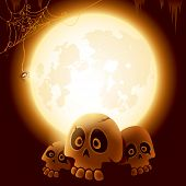 Halloween skulls under the moonlight