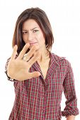 Stop Gesture With Indignation Showed By Young Pretty Woman