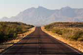 stock photo of bend  - Scenic road through Big Bend National Park in Texas - JPG