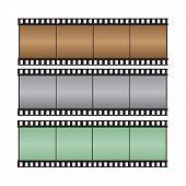 Brown, Gray, Green With Hi-light Film Strip Vector Illustration