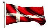 Denmark National Flag Isolated 3D White Background