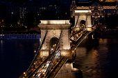 Night traffic of cars on Secheni Bridge