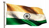 India National Flag Isolated 3D White Background