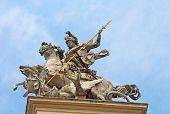 Statue On Front Part Of The St. George's Cathedral, A Baroque-rococo Cathedral In The City Of Lviv,