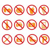Prohibited Symbols Set Signs, Vector Illustration