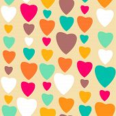 Retro style abstract seamless pattern, Valentine's day background with hearts