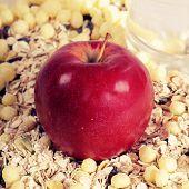 Apple On Muesli Background