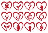 Red Heart Shape Vector Icon Set