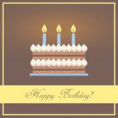 Flat Design Happy Birthday Greeting Card with Chocolate Cake, Whipped Cream and Blue Candles Placed